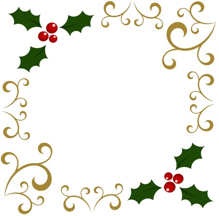 Christmas holly berry frame.  Vector
