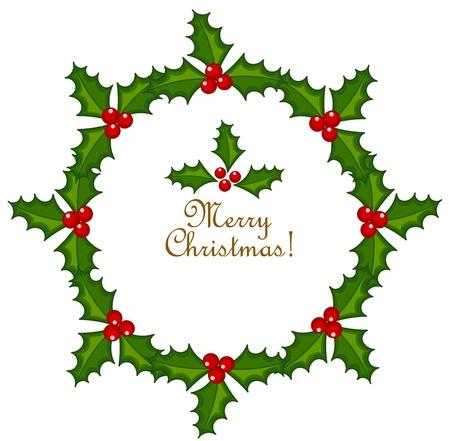 houx: Couronne de Noël faite de Holly Berry.