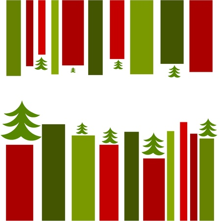 Christmas card design. Red and green stripes Vector
