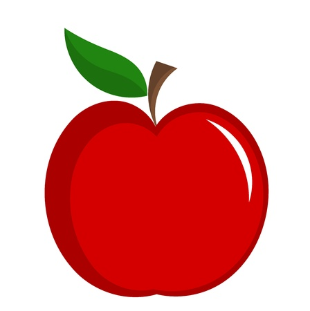 Red apple with leaf illustration isolated.  Иллюстрация