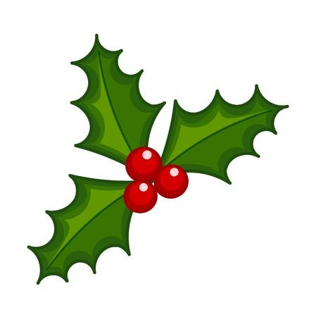 houx: Holly Berry illustration. Symbole de Noël Illustration