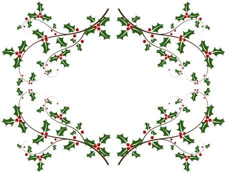 Christmas holly frame Stock Vector - 11588081