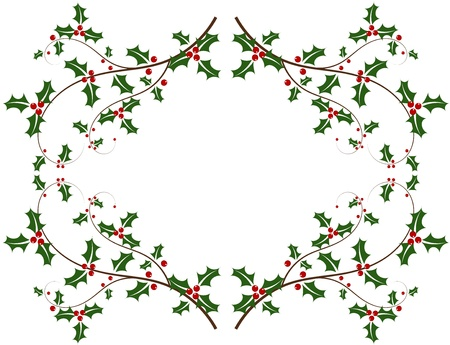 Christmas holly frame Vector