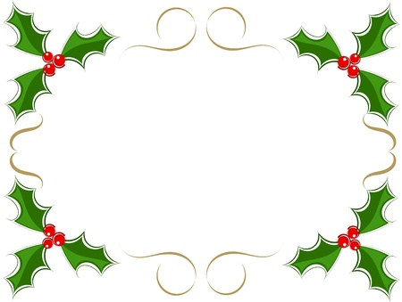 Christmas holly frame Vector