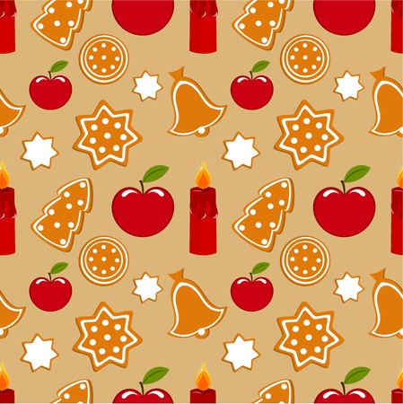 Christmas sweet gingerbread seamless pattern Vector