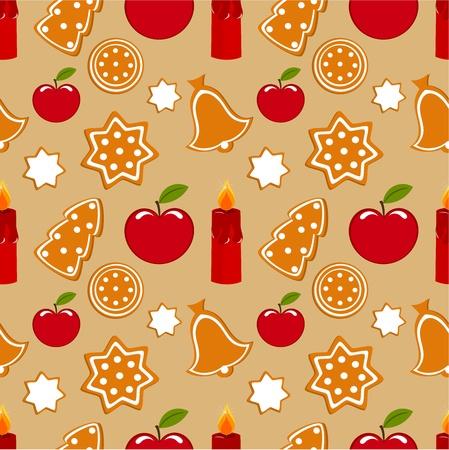 Christmas sweet gingerbread seamless pattern Vector