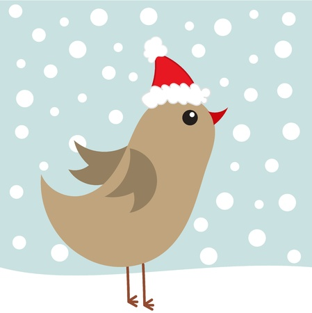 Cute bird in Santa hat in winter scenery Vector