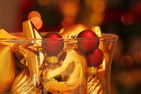 Close up of gold Christmas ornaments photo