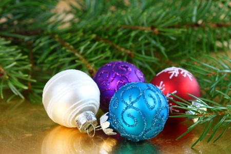 Vaus colors of Christmas balls and fresh fir - decoration Stock Photo - 11780864