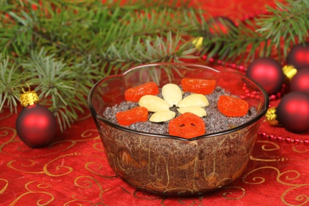 Christmas poppy seed dessert. Traditional Polish cuisine photo