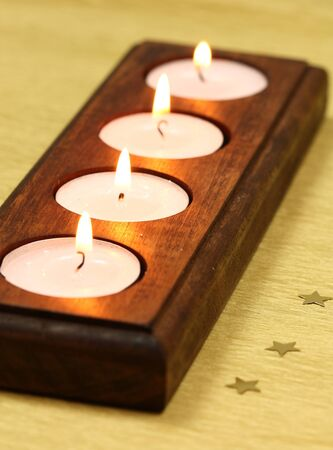 candle holders: Candles tea light in wooden holder