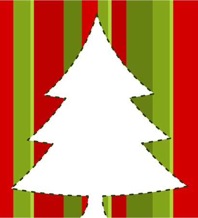 Christmas tree over striped background. illustration Vector