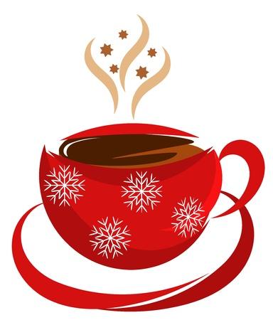 hot chocolate drink: Navidad taza de caf� en color rojo Vectores