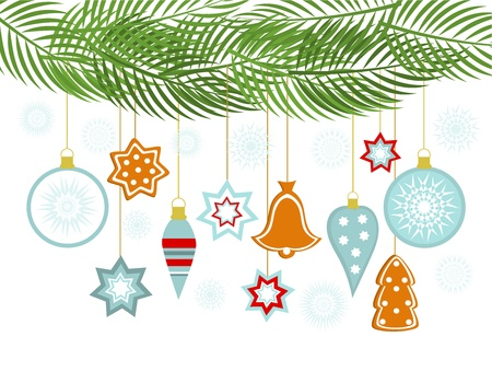 Christmas background with hanging ornaments Vector