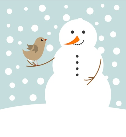Happy Christmas snowman and bird . Winter friends Stock Vector - 12119477