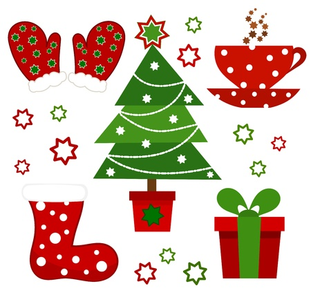 Set of Christmas symbols. illustration Vector