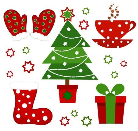 red boots: Set of Christmas symbols. illustration Illustration