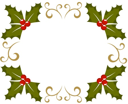 Holly berry Christmas frame. illustration Vector