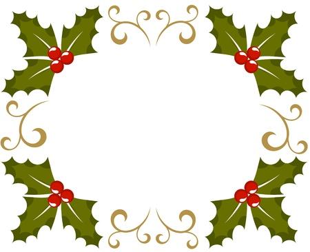 ilex aquifolium holly: Holly berry Christmas frame. illustration Illustration