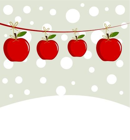 manzana caricatura: Navidad manzanas en un paisaje de invierno