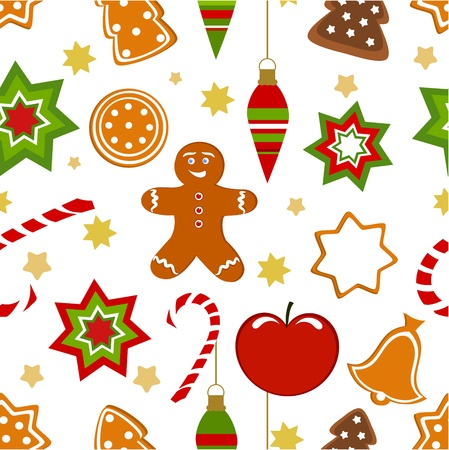 gingerbread man: Christmas seamless pattern. illustration