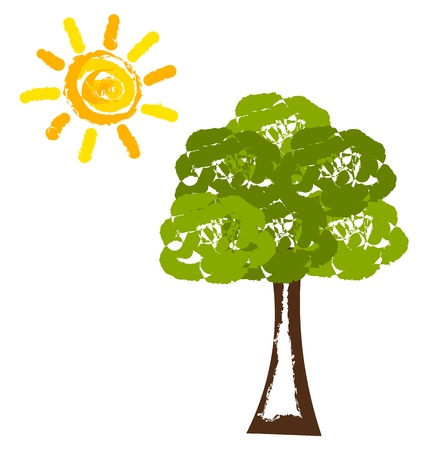 photosynthesis: Tree and sun painting. illustration