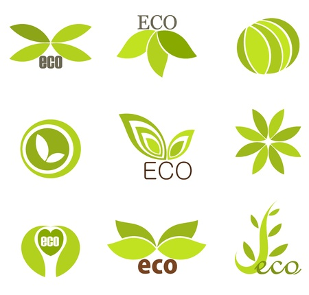 sprout growth: Green leaf eco icons. Vector illustration