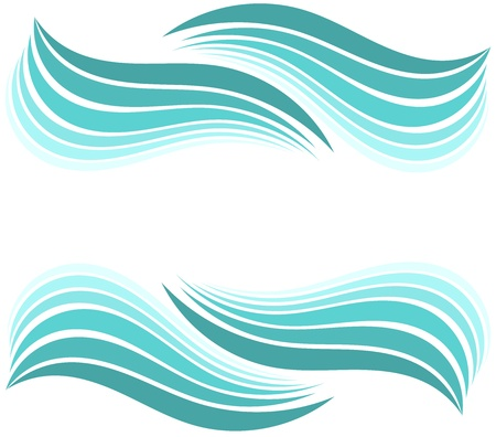 Water waves border. illustration design Vector