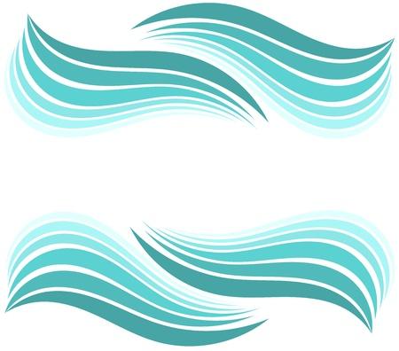 waves ocean: Water waves border. illustration design Illustration