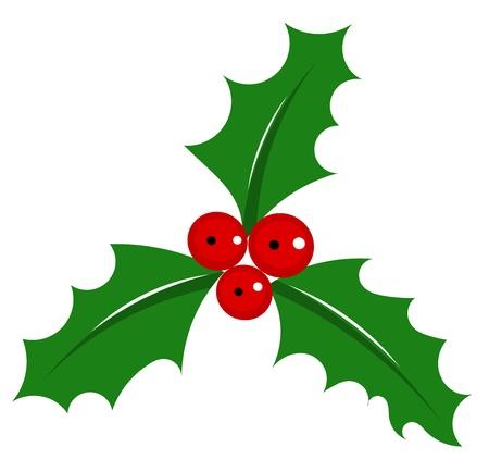 a sprig: Holly Berry - s�mbolo de la Navidad en blanco. ilustraci�n Vectores