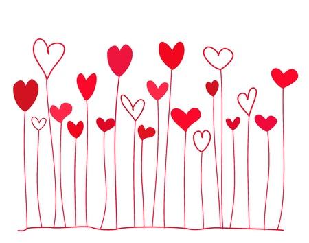 hartje cartoon: Grappig doodle rode harten op stengels. illustratie Stock Illustratie