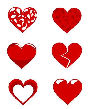 heart broken: Set of various vector red hearts