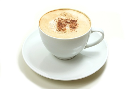 brewed: Cappuccino coffee in white cup