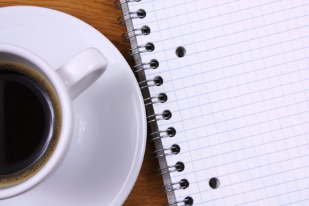 Espresso coffee and note pad. Top view Stock Photo - 12119506