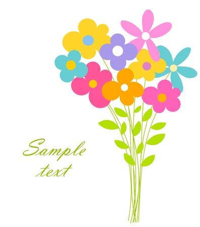 flores de cumpleaños: Lindo ramo de flores. ilustración vectorial