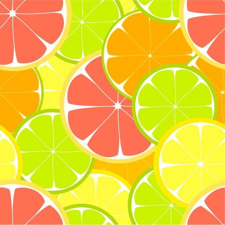 Citrus slices seamless pattern. illustration Vector