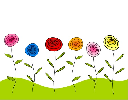 Colorful roses growing - background Vector