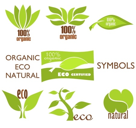 companies: Set of eco and organic symbols and icons for design. illustration