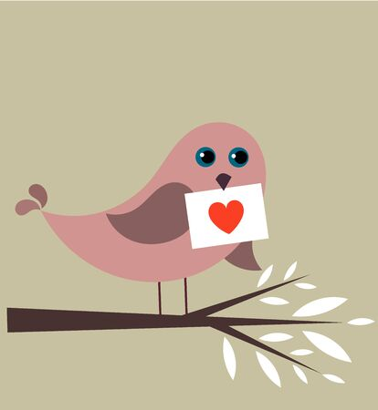 Bird with Valentine letter. illustration Vector