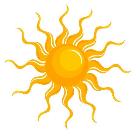 sun sign: Fantasy sun over white. illustration