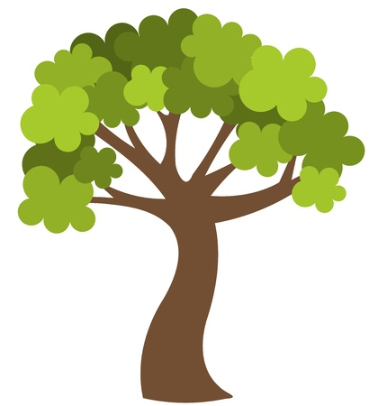 Green spring tree isolated. illustration Vector