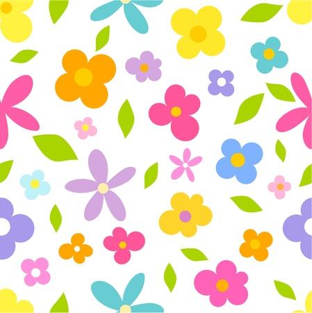flor caricatura: Flores de primavera - sin patrón