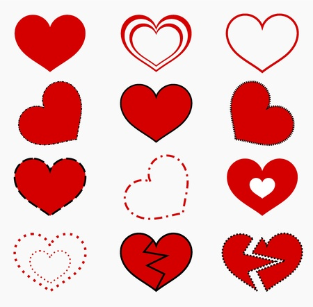 seasonal symbol: Collection of red hearts. illustration