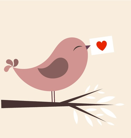 Valentine bird with card. illustration Vector