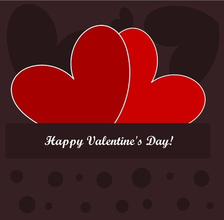 Valentine's day card with two red hearts. illustration Vector