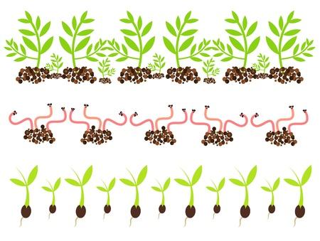 lombriz: Motivos de primavera de jardinería - gusanos y plantas que crecen en el suelo