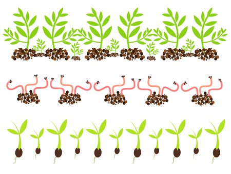 seed growing: Spring gardening motives - worms and seedlings growing in soil
