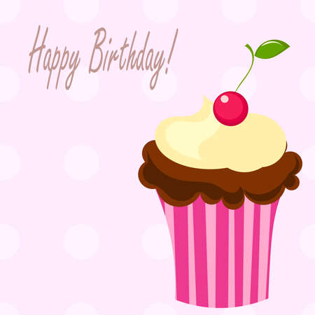 Birthday cupcake with cherry. Vector illustration Vector