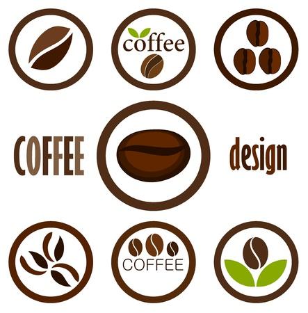 grano de cafe: Símbolos de café en grano para el diseño. Iconos vectoriales Vectores