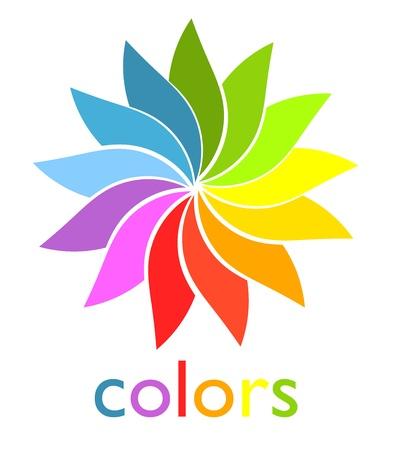 vibrant colours: Colorful rainbow fan symbol. Vector illustration